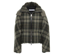 Twill-paneled Checked Wool Hooded Down Jacket Army Green