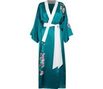 Queenie embroidered silk-satin robe