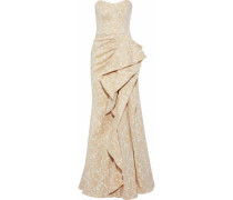 Strapless ruffled metallic jacquard gown