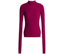 Ribbed merino wool turtleneck sweater