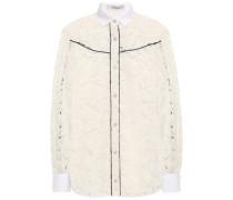 Piqué-trimmed Cotton-blend Corded Lace Shirt Ivory