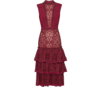 Tiered pleat-trimmed lace dress