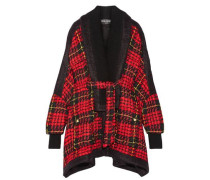 Oversized felt-trimmed checked bouclé-tweed coat