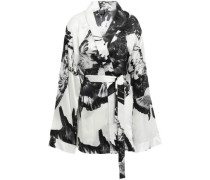 Woman Printed Silk-satin Jacket White