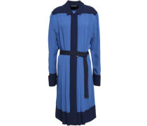 Belted Pleated Crepe Shirt Dress Royal Blue