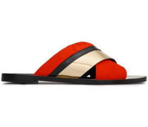 Metallic Leather And Suede Slides Tomato Red