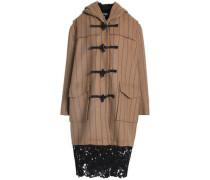 Lace-trimmed striped wool-blend felt coat