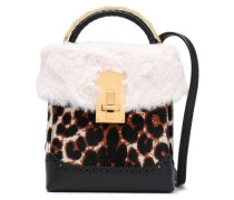 Leopard-print Calf Hair, Faux Fur And Textured-leather Shoulder Bag Animal Print Size --