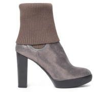 Ribbed-paneled metallic textured-leather ankle boots