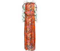Off-the-shoulder floral-print chiffon maxi dress