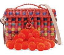 Baby Roge Pompom-embellished Woven Straw Shoulder Bag Bright Orange Size --