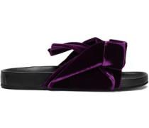 Woman Knotted Velvet Slides Purple