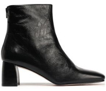 Woman Crinkled Glossed-leather Ankle Boots Black