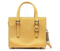 Embellished Textured-leather Tote Mustard Size --