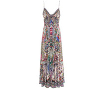 Woman Crystal-embellished Knotted Silk Crepe De Chine Maxi Dress Fuchsia