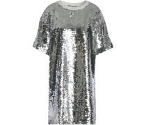 Sequined cotton-blend mesh mini dress