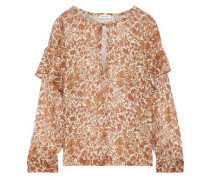 Woman Tilda Ruffle-trimmed Printed Cotton And Silk-blend Gauze Blouse Camel