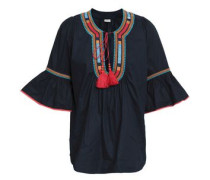 Fluted Embroidered Cotton-poplin Top Midnight Blue