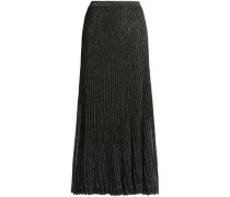 Metallic pleated knitted maxi skirt
