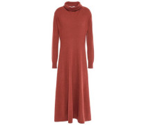 Woman Mélange Cashmere Turtleneck Midi Dress Brick