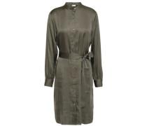 Belted Satin Shirt Dress Forest Green