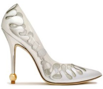 Pvc And Metallic Leather Pumps Silver