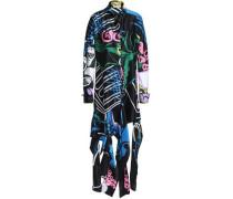 Floral-print Cotton And Silk-blend Mini Shirt Dress Black
