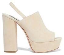 Logan Suede Platform Slingback Sandals Beige