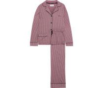 Pinstriped cotton-blend pajama set