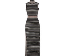 Woman Ruffle-trimmed Metallic Striped Mesh Turtleneck Maxi Dress Black
