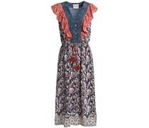 Printed ruffle-trimmed tasseled silk dress
