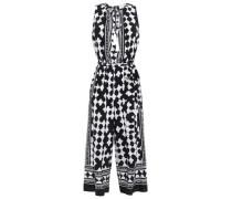 Belted Printed Silk Crepe De Chine Jumpsuit Black