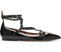 Love Latch eyelet-embellished two-tone patent-leather flats