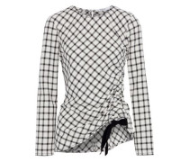 Asymmetric Ruched Checked Crepe Top Ivory