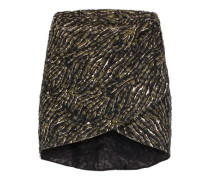 Wrap-effect printed lace mini skirt