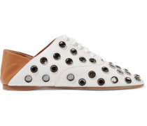 Mika crystal-embellished leather collapsible-heel slippers
