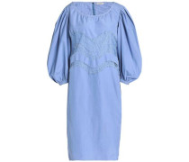 Lace-trimmed gathered cotton-poplin mini dress