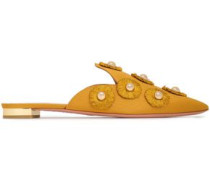 Embellished Faille Slippers Saffron