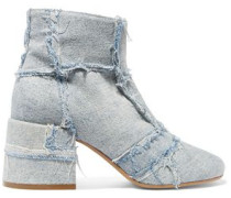 Frayed patchwork denim ankle boots