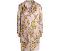 Floral-print silk-jacquard mini shirtdress