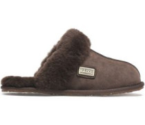 Leather-trimmed shearling slippers