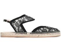 Leda suede-trimmed embroidered mesh espadrille sandals