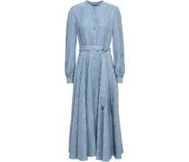 Belted Jacquard Midi Dress Light Blue
