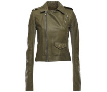 Stooges Coated-leather Biker Jacket Army Green