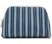 Leather-trimmed Striped Faux Raffia Cosmetics Case Navy Size --