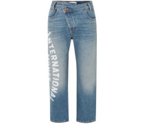 Woman Cropped Printed Mid-rise Straight-leg Jeans Blue