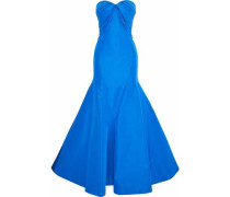 Strapless fluted pleated silk-faille gown