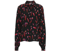 Printed Silk Crepe De Chine Shirt Black