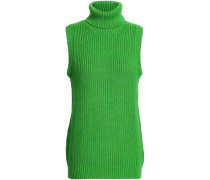 Ribbed Cotton-blend Turtleneck Sweater Green