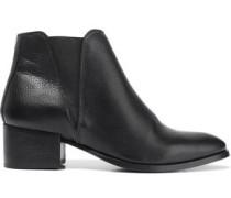 Savea Textured-leather Ankle Boots Black